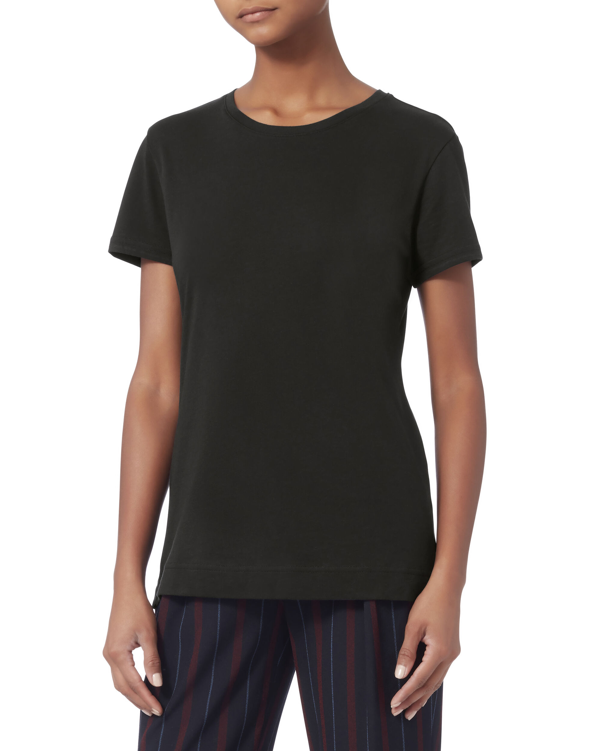 Pima Cotton Black T-Shirt, BLACK, hi-res
