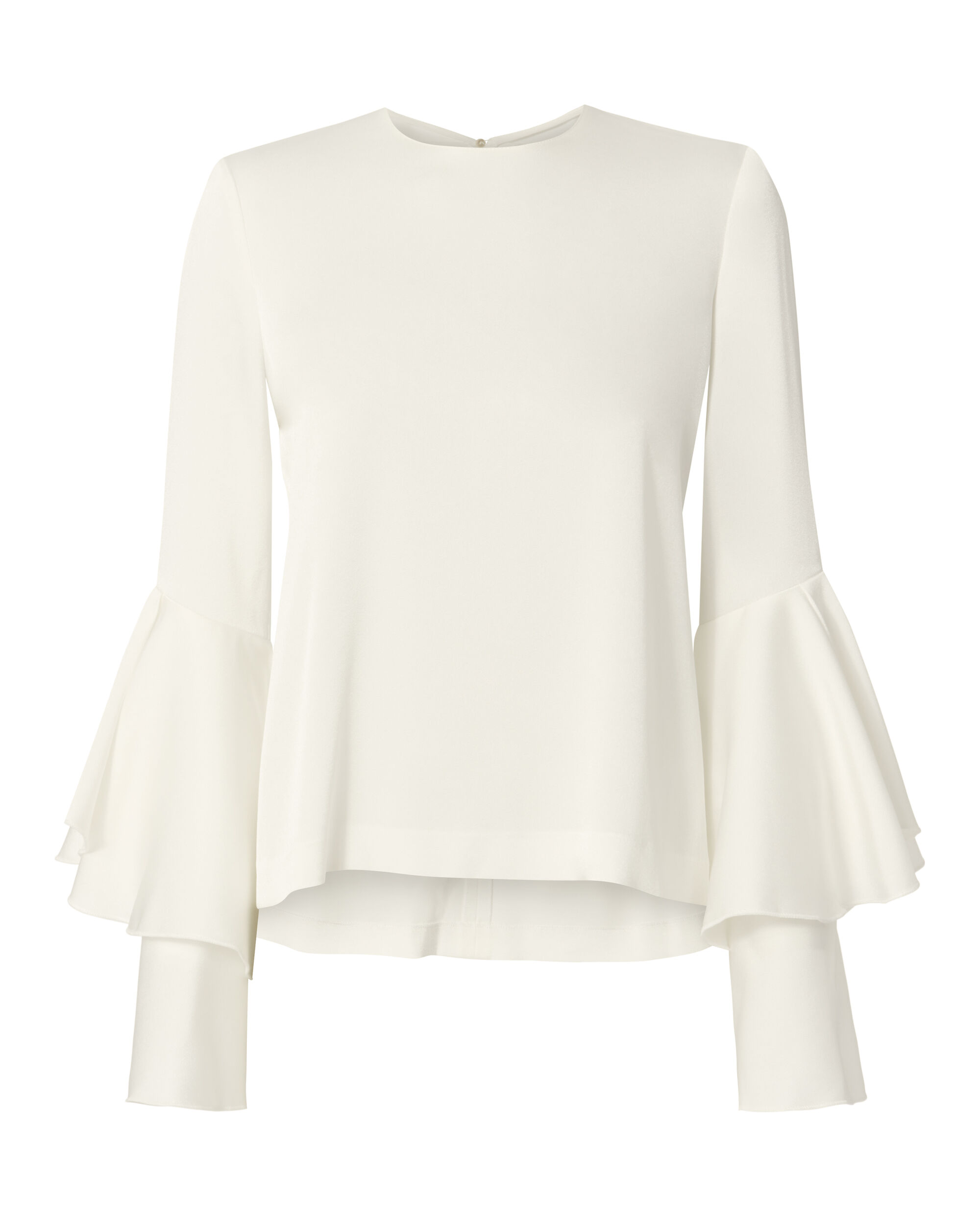Tiered Bell Sleeve White Satin Top, WHITE, hi-res