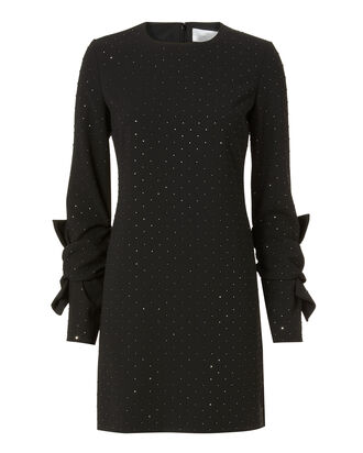 Embellished Twist Sleeve Mini Dress, BLACK, hi-res