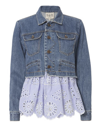 Denim Eyelet Combo Jacket, DENIM, hi-res