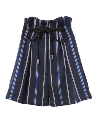 Striped Paperbag Waist Shorts, NAVY, hi-res
