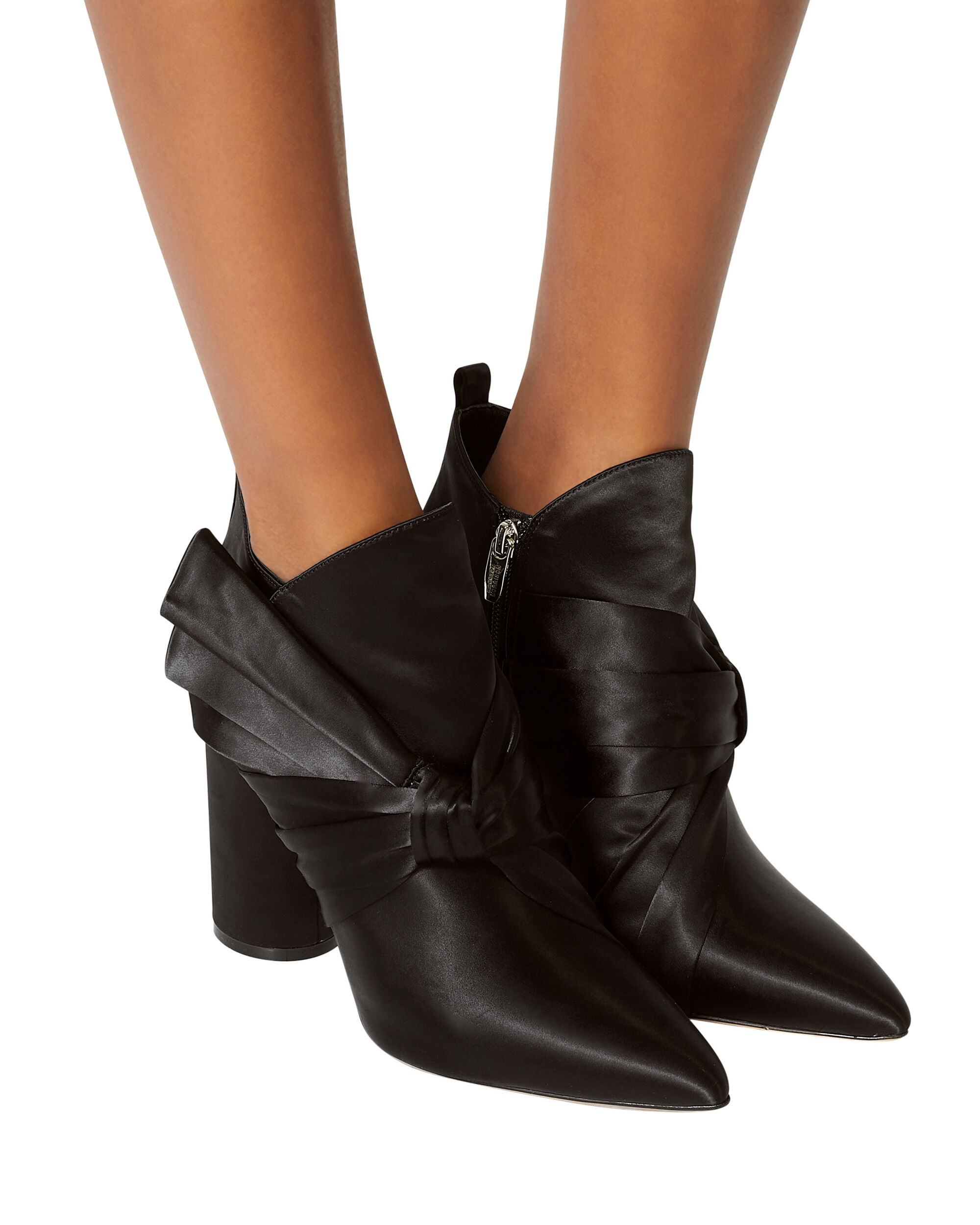 Kiran Bow Satin Booties, BLACK, hi-res