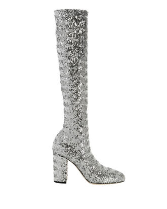 Stretch Silver Sequin Disco Boots, SILVER, hi-res
