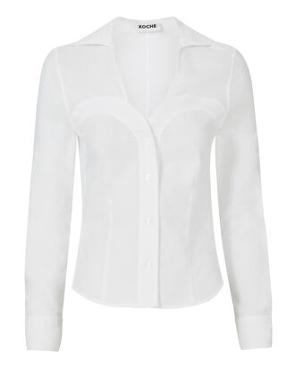 Bust Detail White Button Down Top, WHITE, hi-res