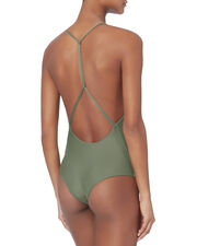 Africa Olive Deep V-Neck One Piece Swimsuit, OLIVE/ARMY, hi-res