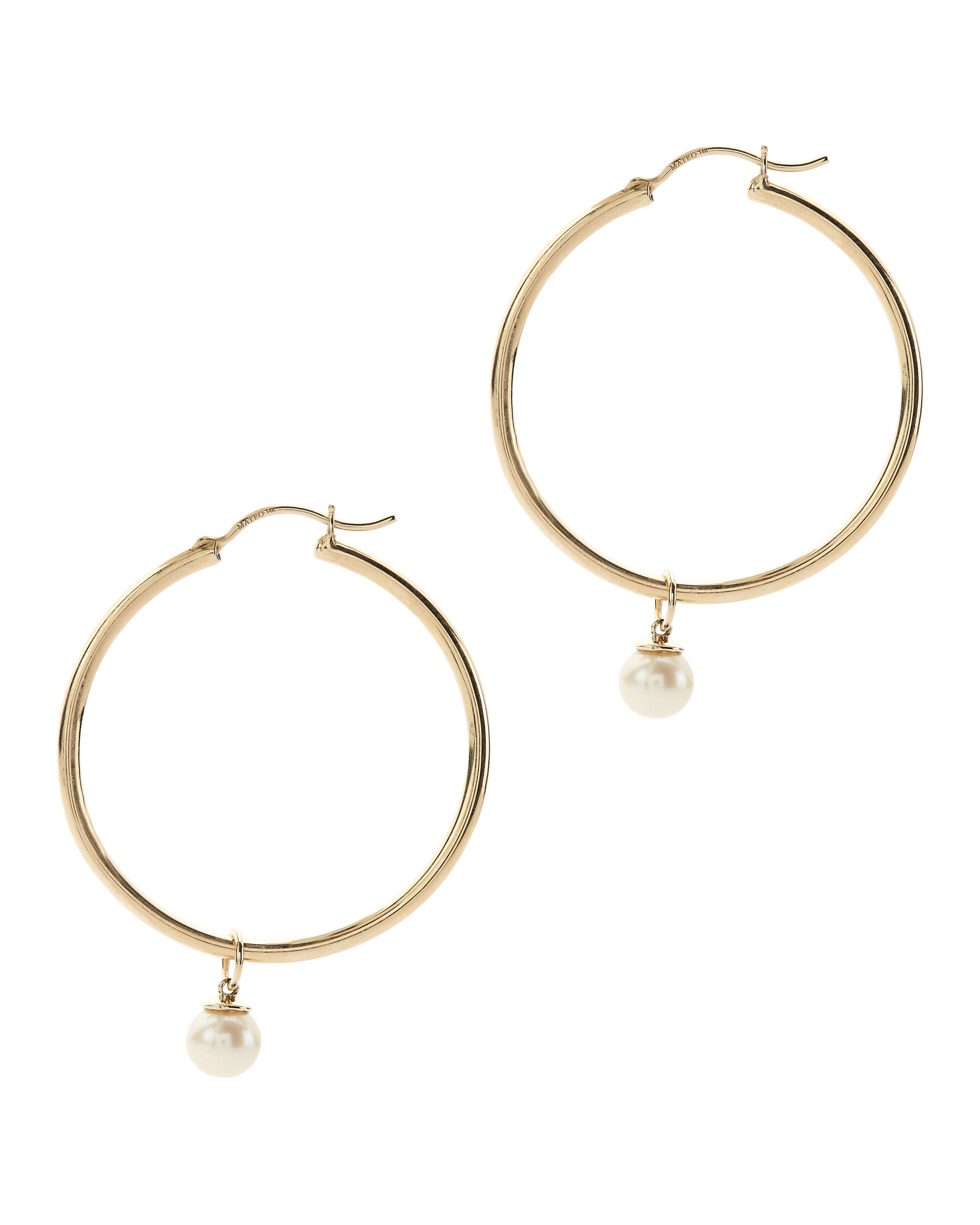 Pearl Charm Detachable Gold Hoops, METALLIC, hi-res