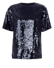 Navy Sequin Tee, NAVY, hi-res