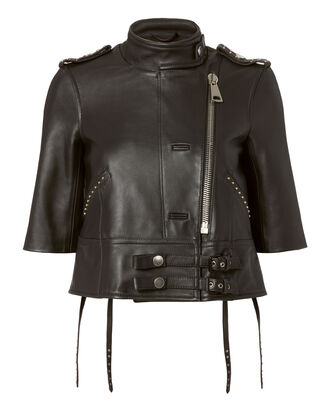 The Crop Moto Studded Leather Jacket, BLACK, hi-res