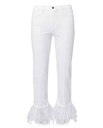 Le High Feather Cropped Jeans, WHITE, hi-res