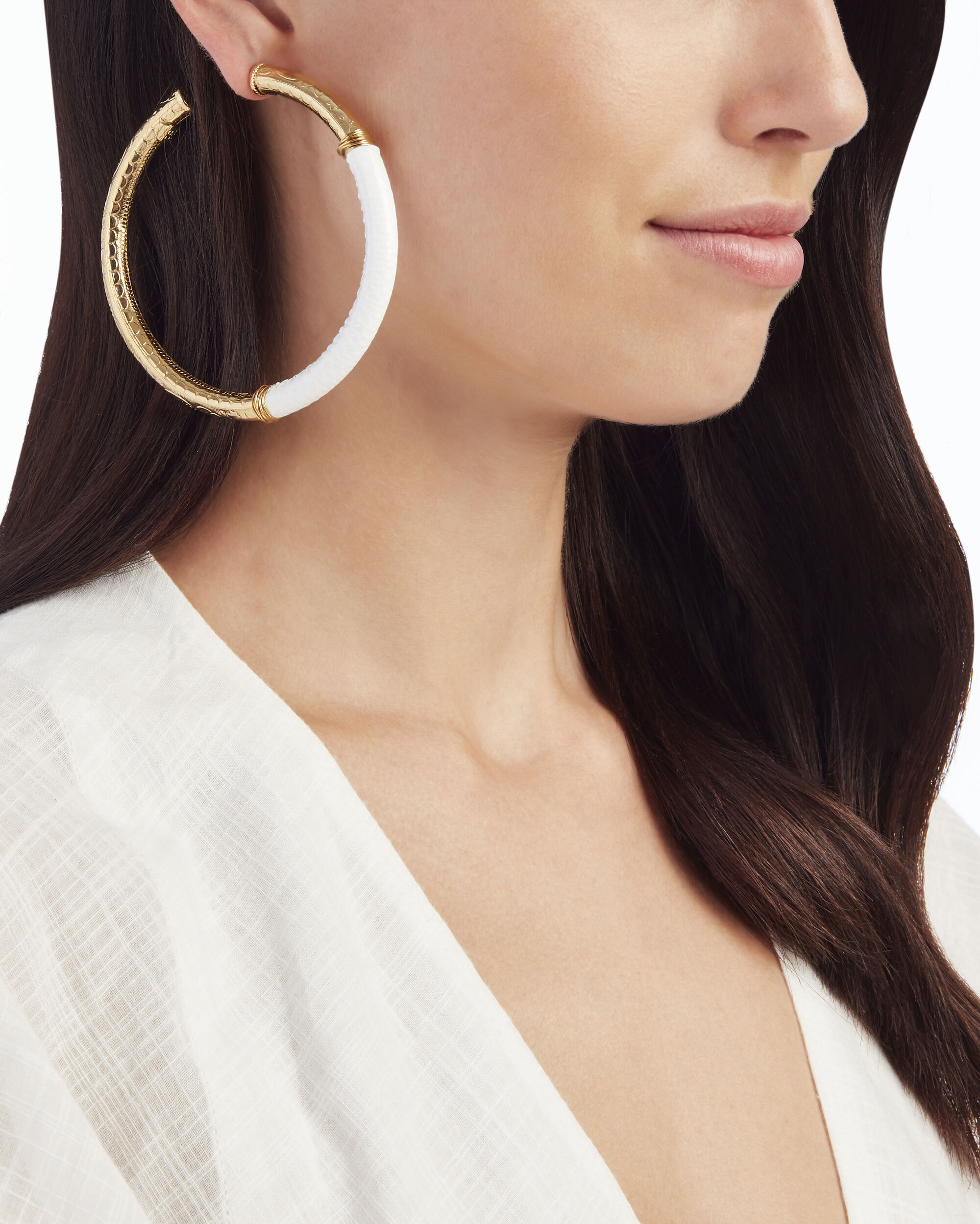 White Leather Accent Hoops, WHITE, hi-res