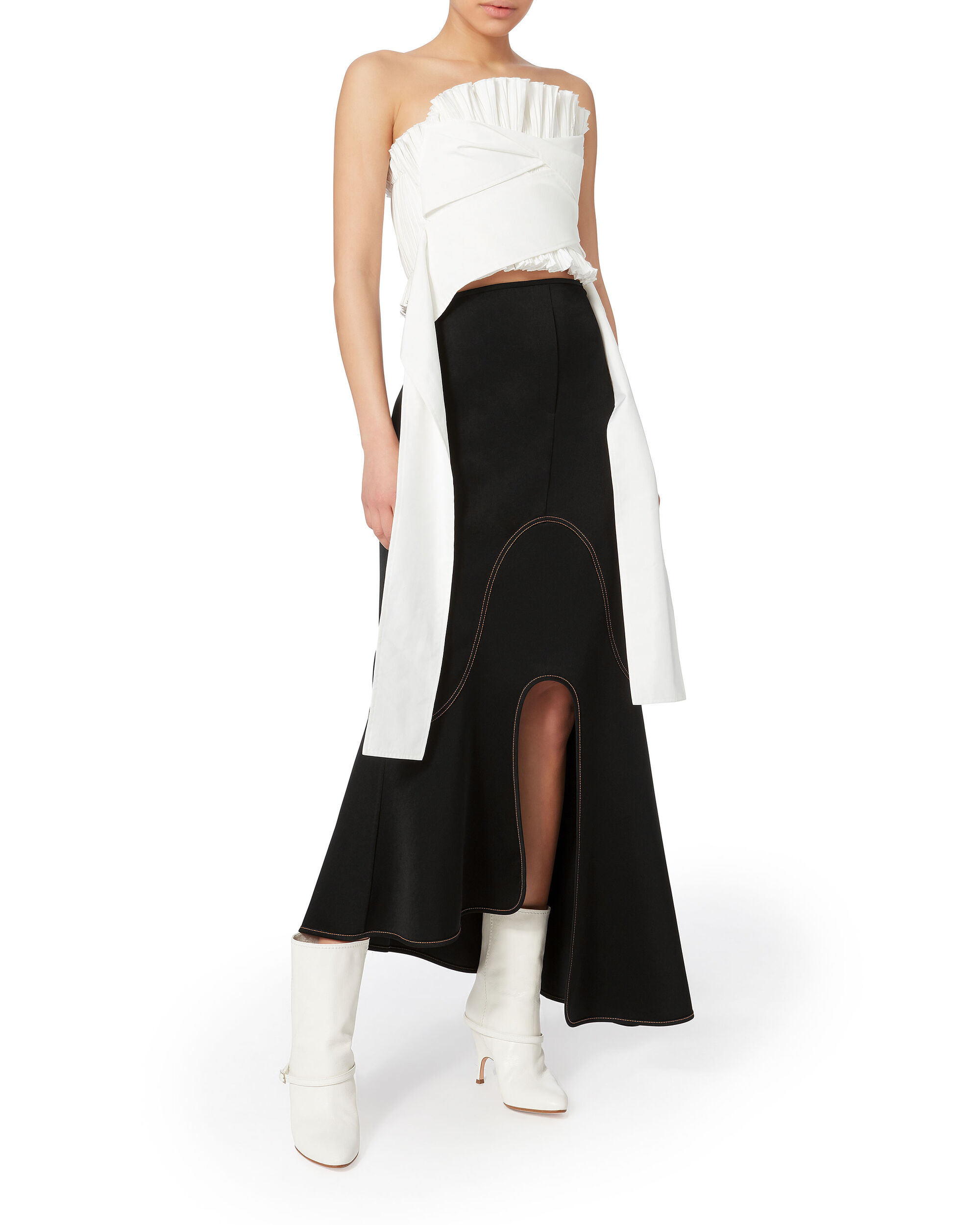 Orbit Asymmetrical Midi Skirt, BLACK, hi-res