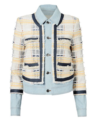 Santiago Fringe Denim Jacket, YELLOW, hi-res