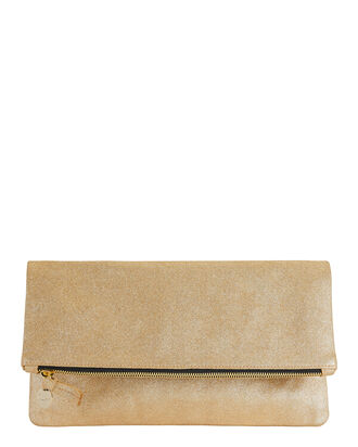 Metallic Gold Suede Clutch, METALLIC, hi-res