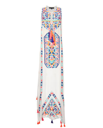 Embroidered Maxi Dress, WHITE, hi-res