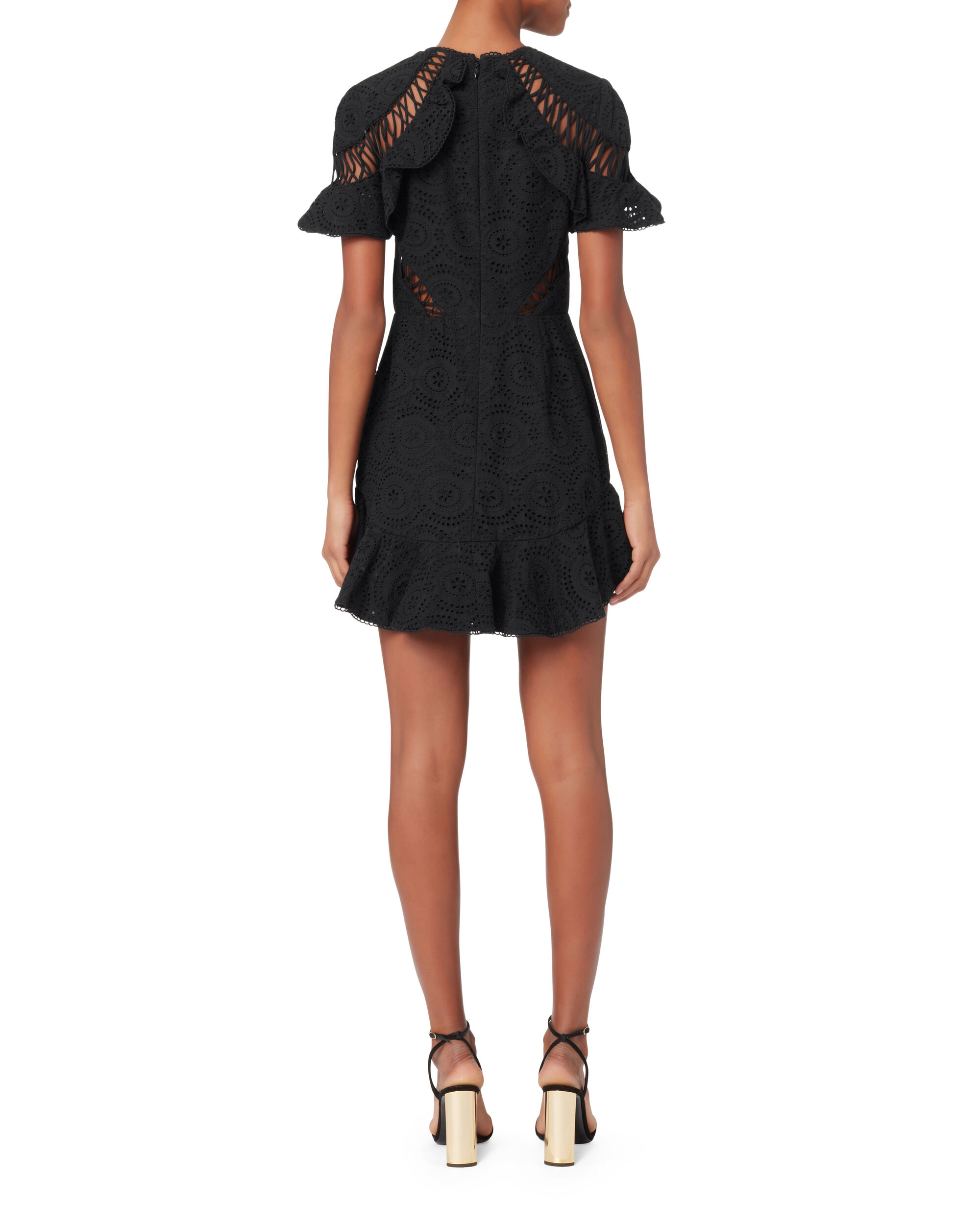 Helm Circle Flutter Mini Dress, BLACK, hi-res