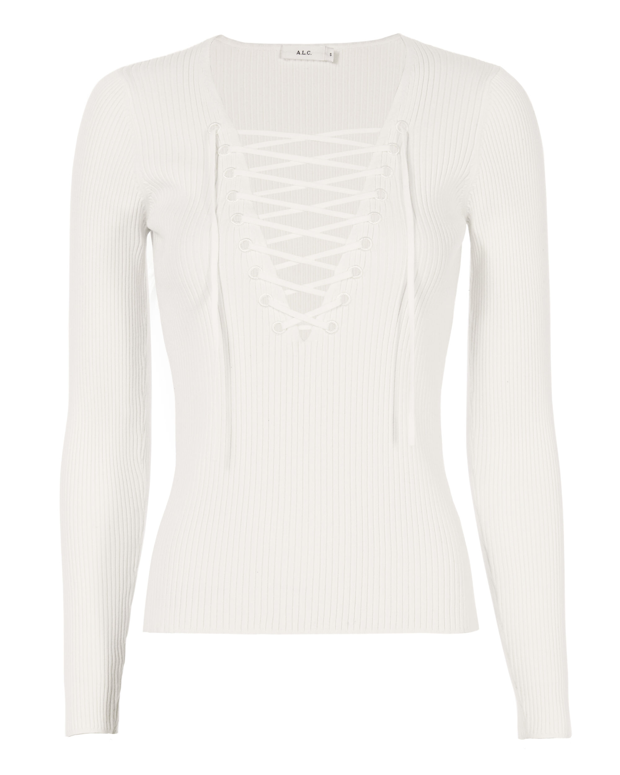 Solana Lace-Up Rib Knit Top, WHITE, hi-res