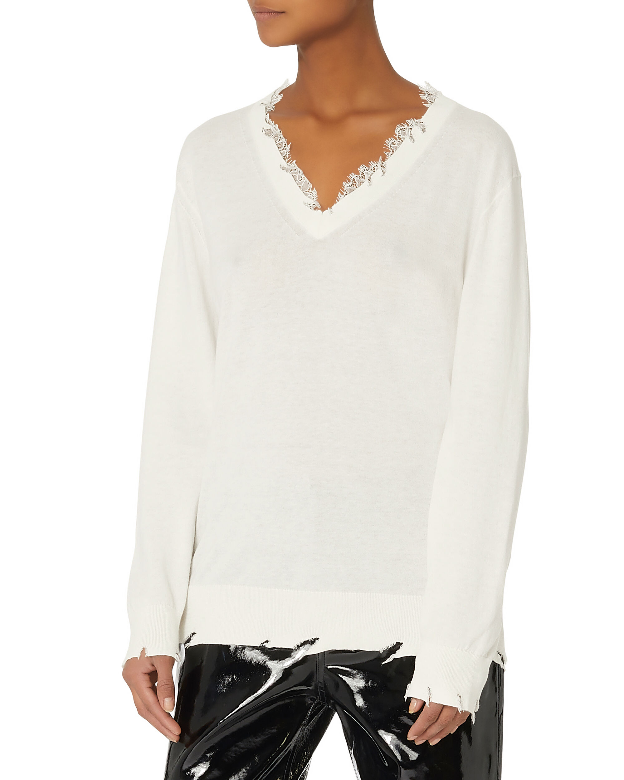 Pao Lace Destroyed Sweater, IVORY, hi-res