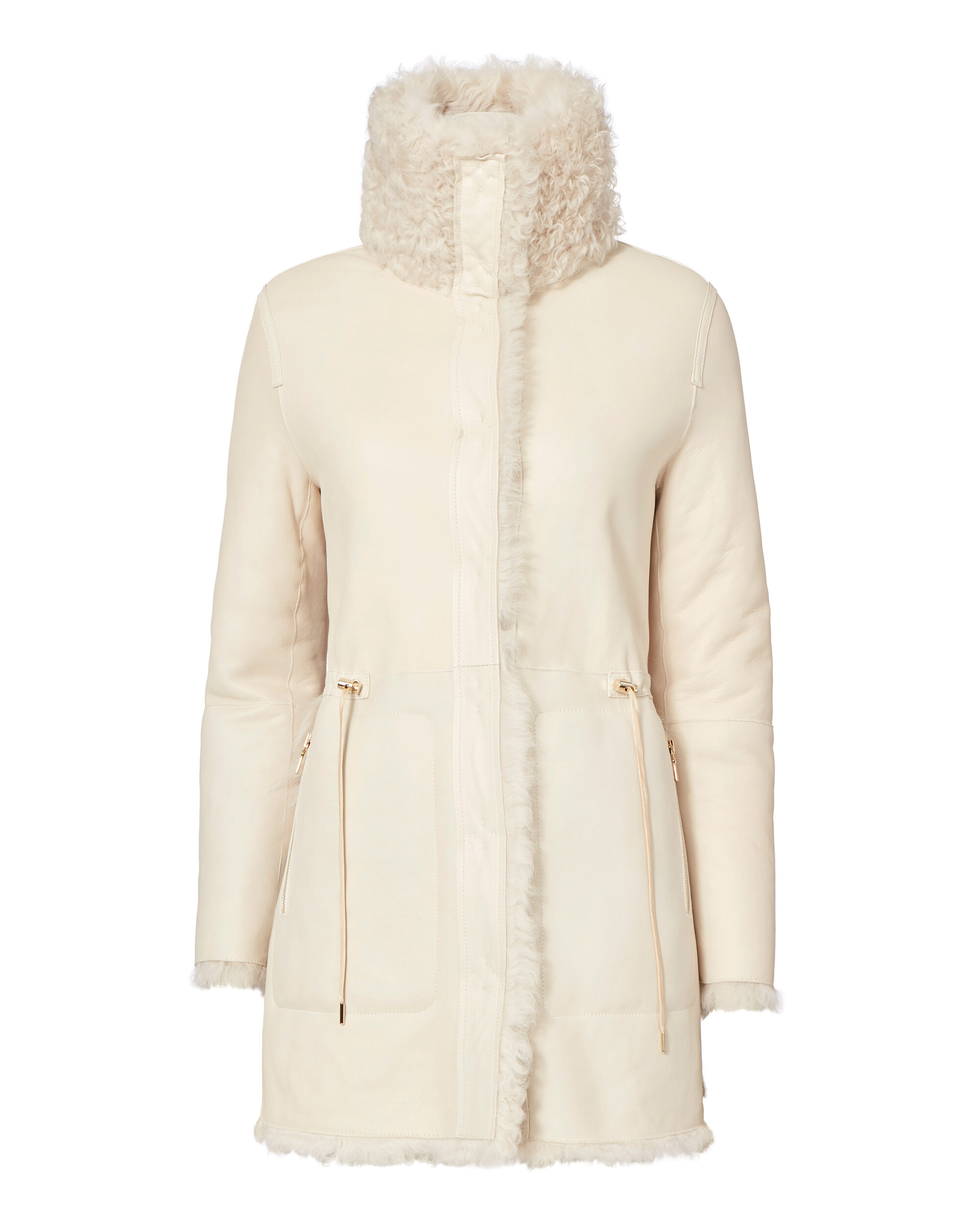 High Collar Reversible Shearling Jacket, IVORY, hi-res