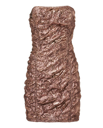 Textured Rose Gold Mini Dress, PINK, hi-res