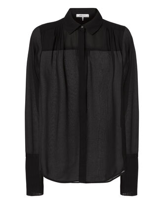 Pleated Cuffs Sheer Noir Blouse, BLACK, hi-res