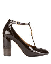 Perry T-Strap Patent Leather Pumps, BROWN, hi-res