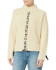 Mughal Lace-Up Sweater, WHITE, hi-res