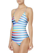 Antonia Lace Back Rainbow One Piece Swimsuit, PATTERN, hi-res