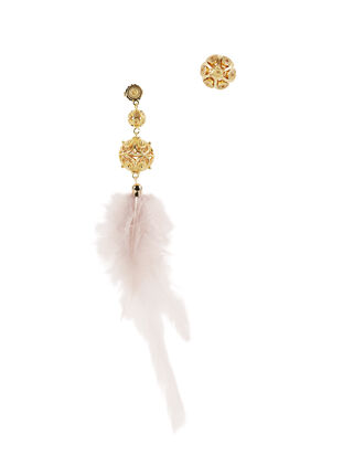 Gala Pink Feather Earrings, PINK, hi-res