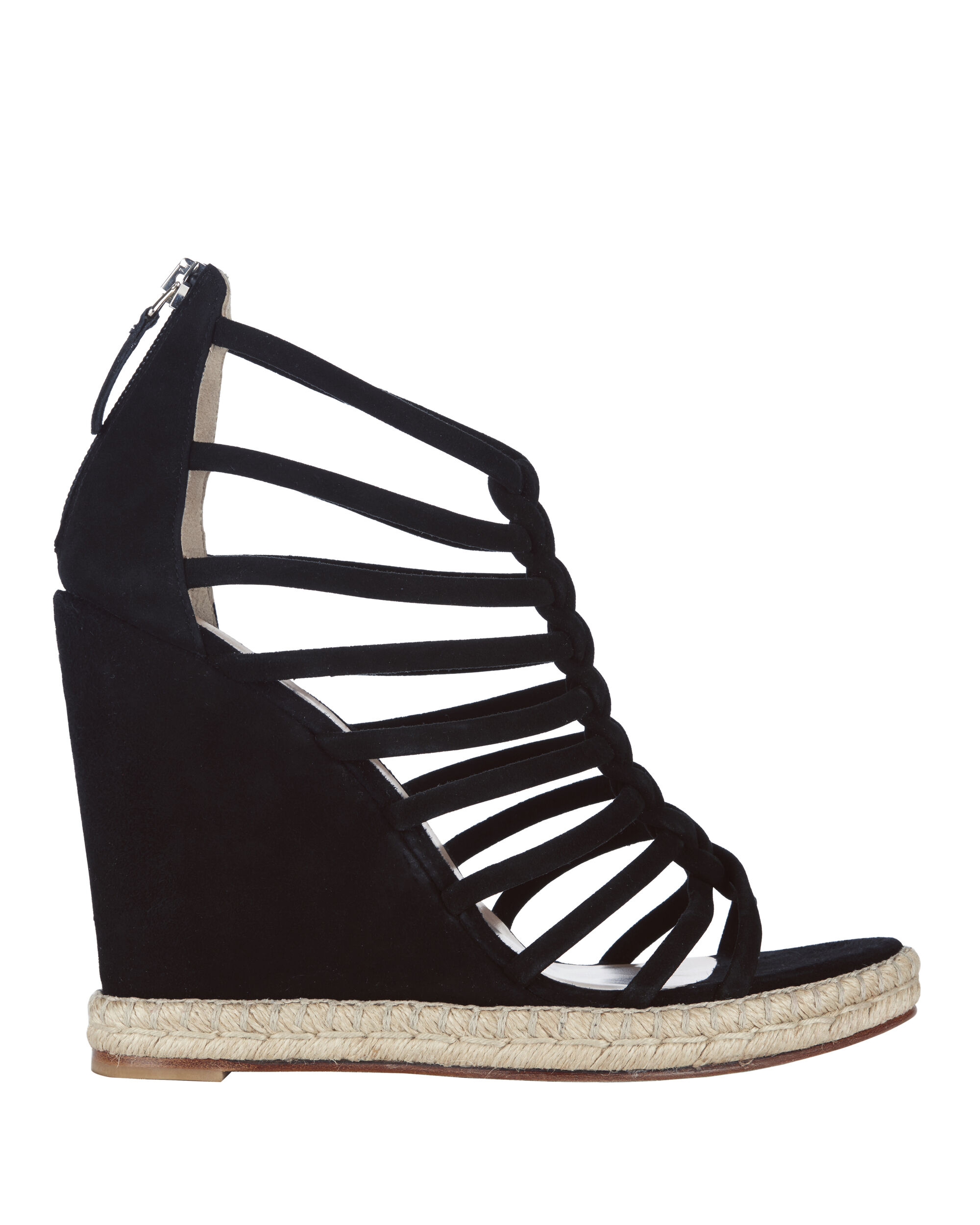 Elvira Strappy Wedge Sandals, BLACK, hi-res