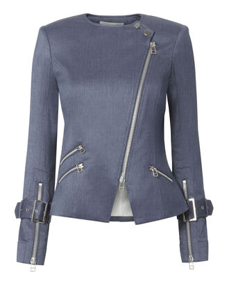 Sienna Chambray Moto Jacket, NAVY, hi-res