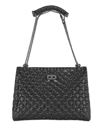 Rockstud Spike Large Tote, BLACK, hi-res