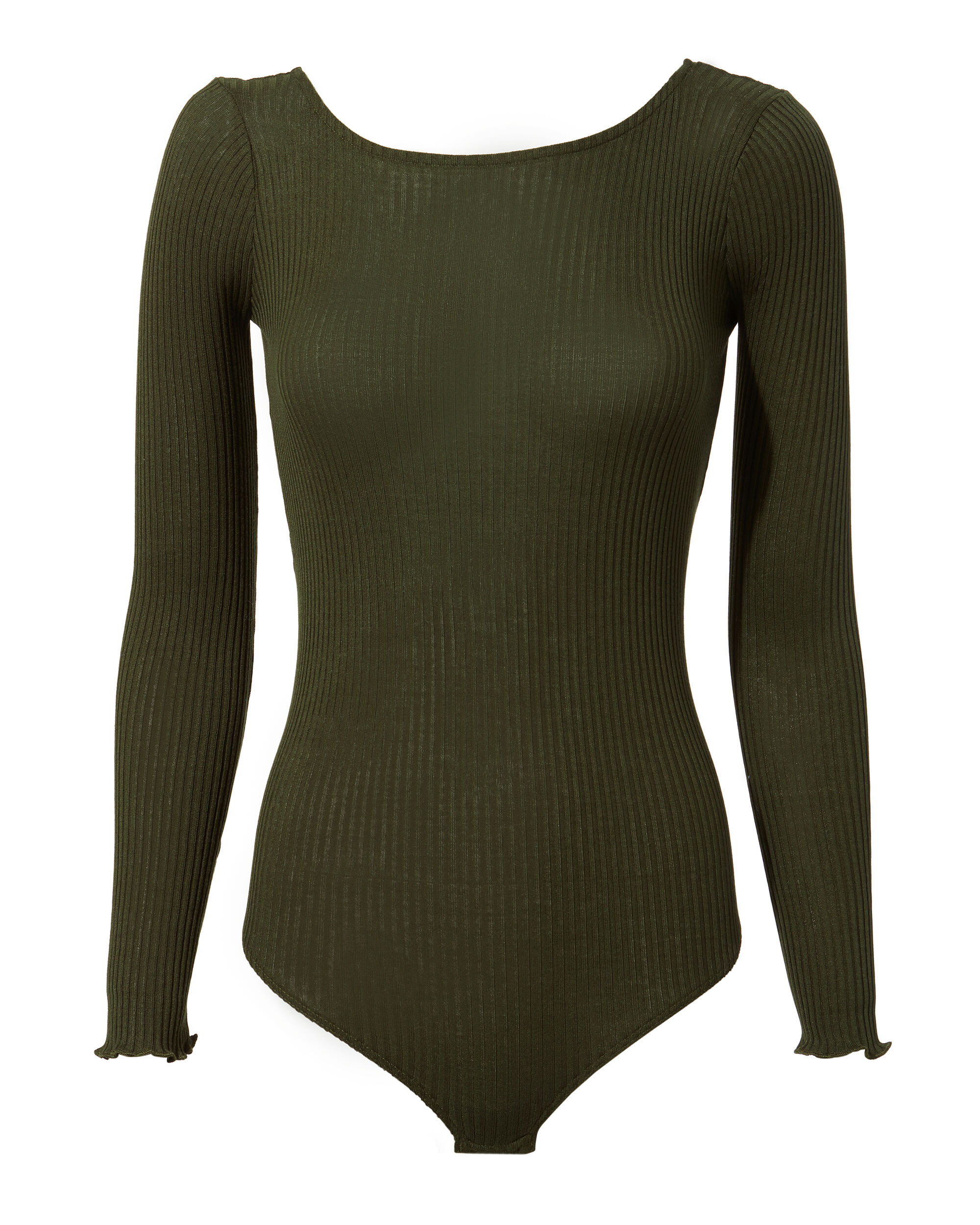 Open Back Knit Bodysuit, GREEN, hi-res