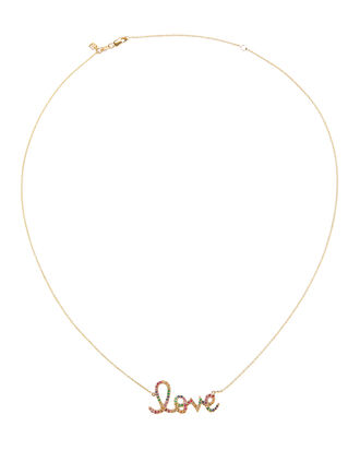 Large Pavé Love Necklace, METALLIC, hi-res