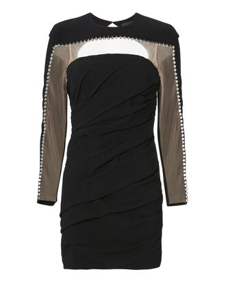 Crystal Detail Ruched Mini Dress, BLACK, hi-res