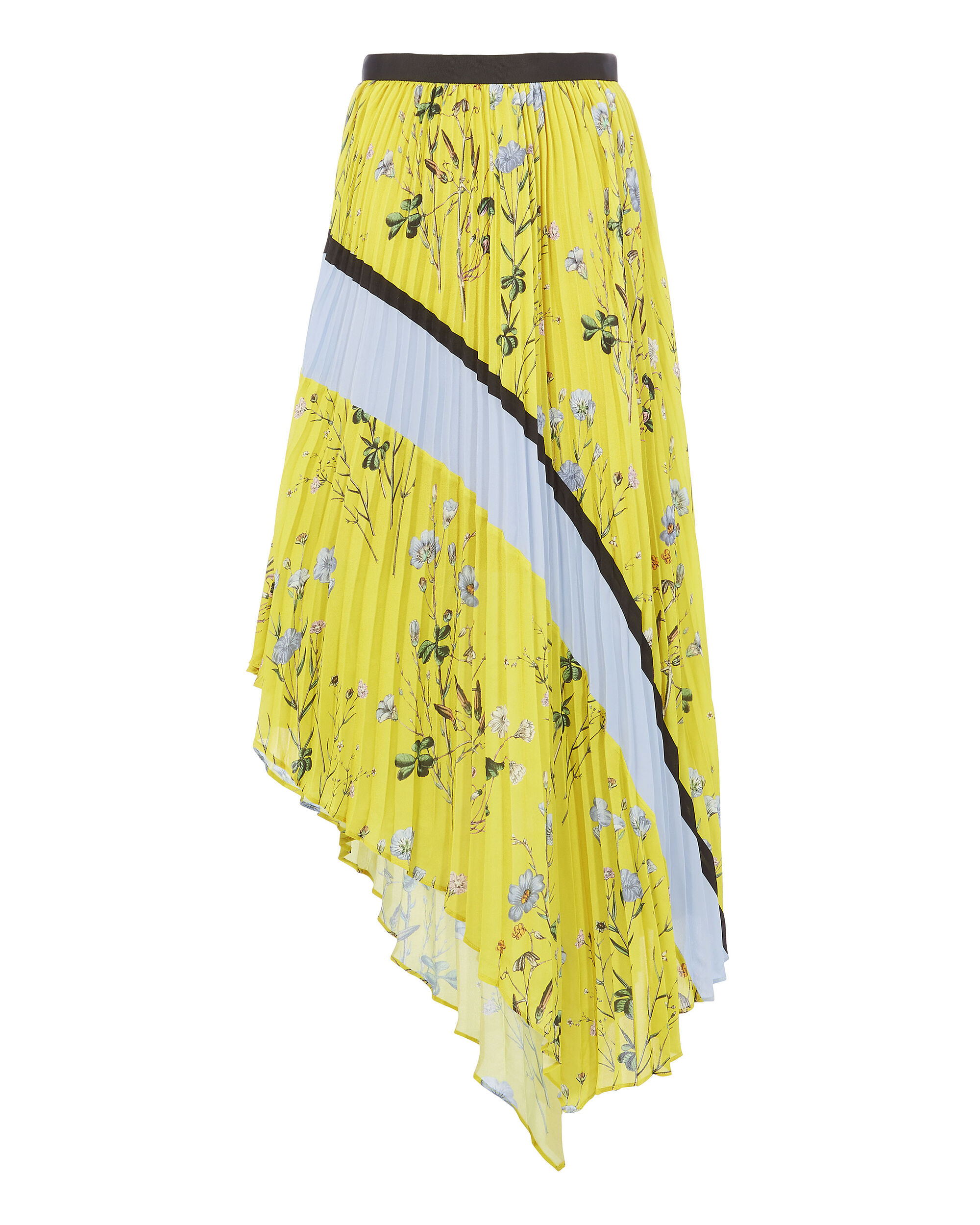 Floral Pleated Asymmetric Skirt, YELLOW, hi-res