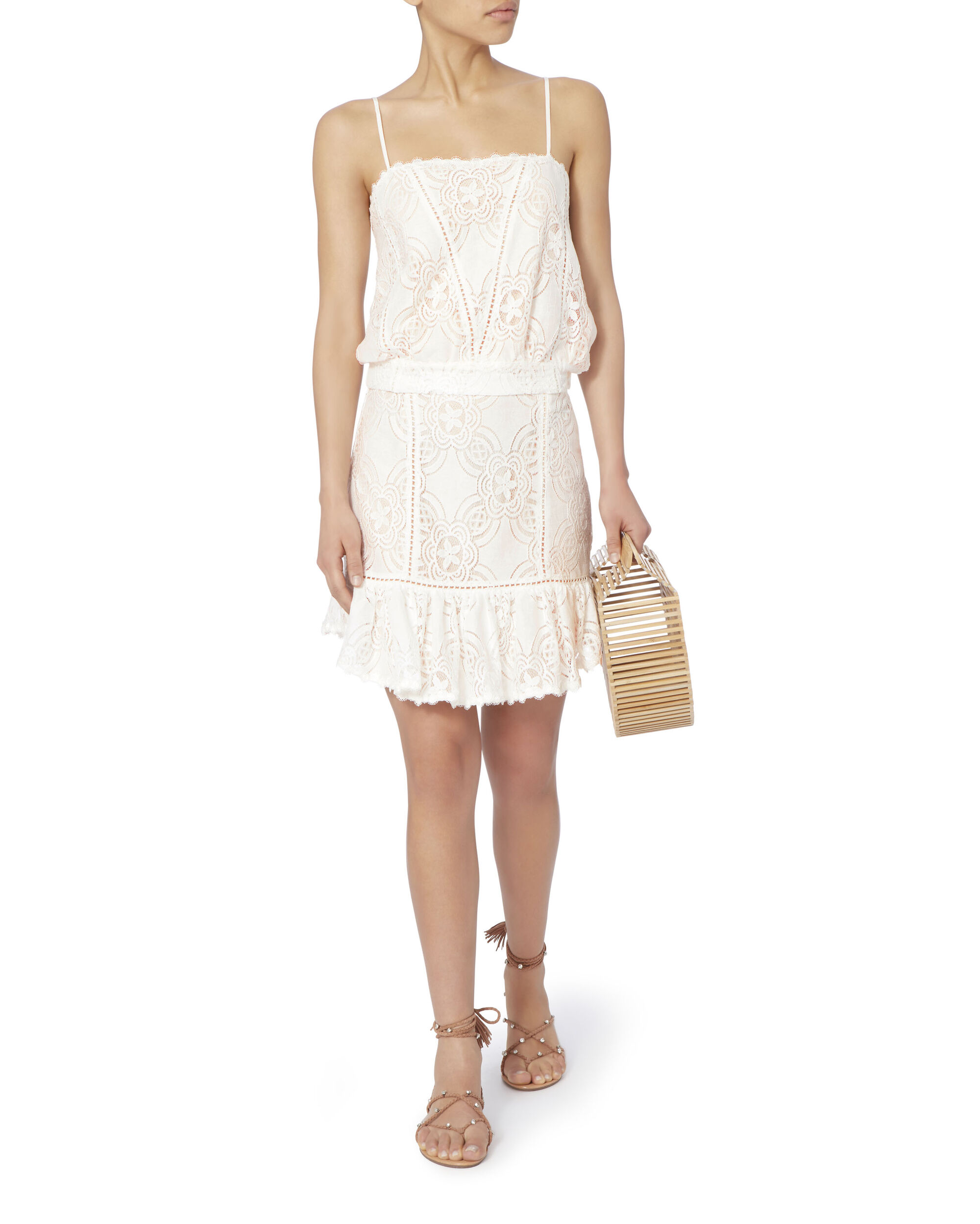 Chantilly Lace Frill Skirt, IVORY, hi-res