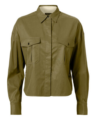 Mason Lace-Up Cropped Shirt, OLIVE/ARMY, hi-res