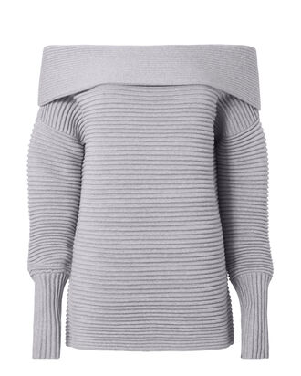 Fine Knit Off-The-Shoulder Sweater, GREY, hi-res