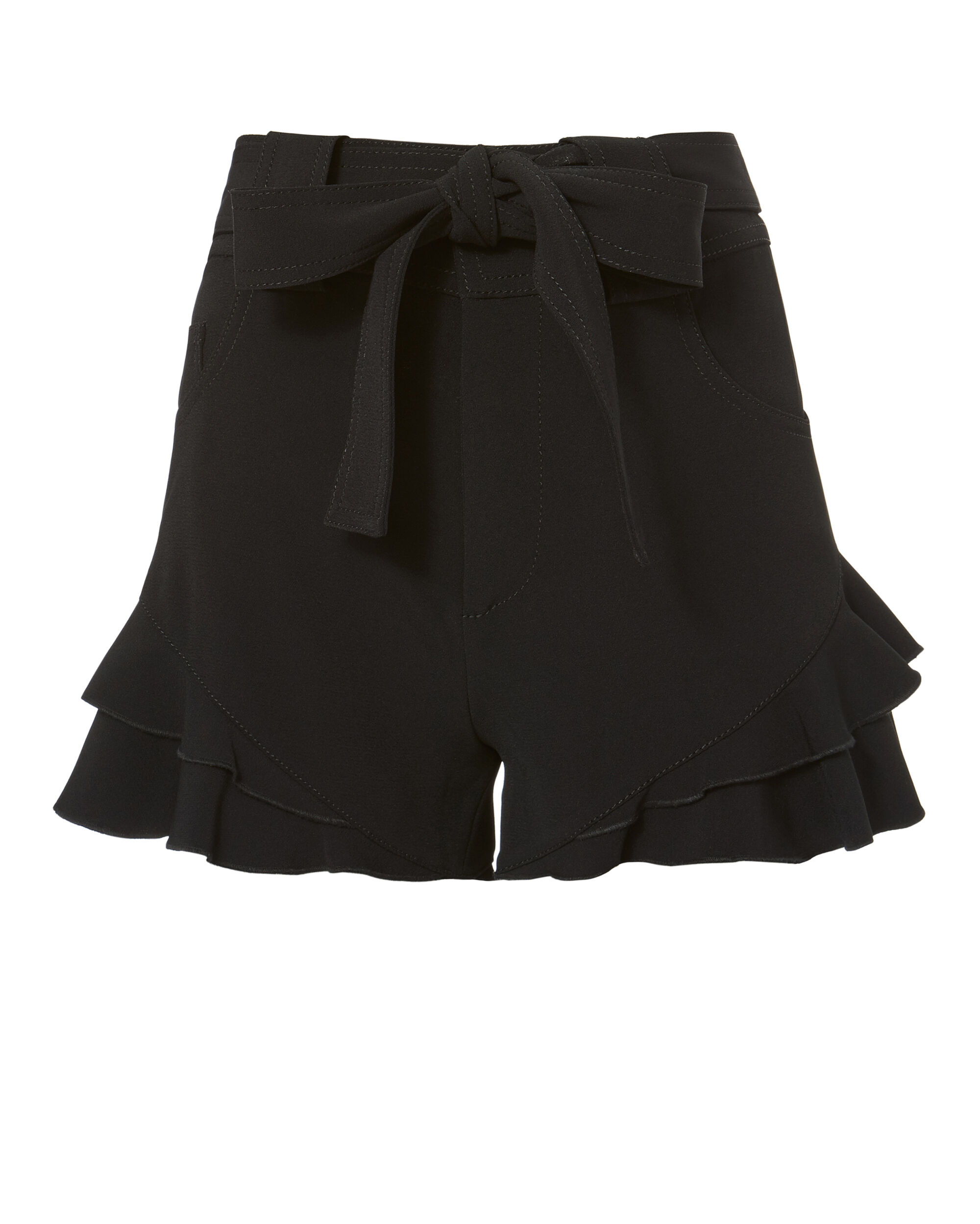 Black Crepe Ruffle Shorts, BLACK, hi-res