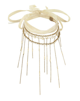 Wrap Tie Pearl Fringe Necklace, IVORY, hi-res