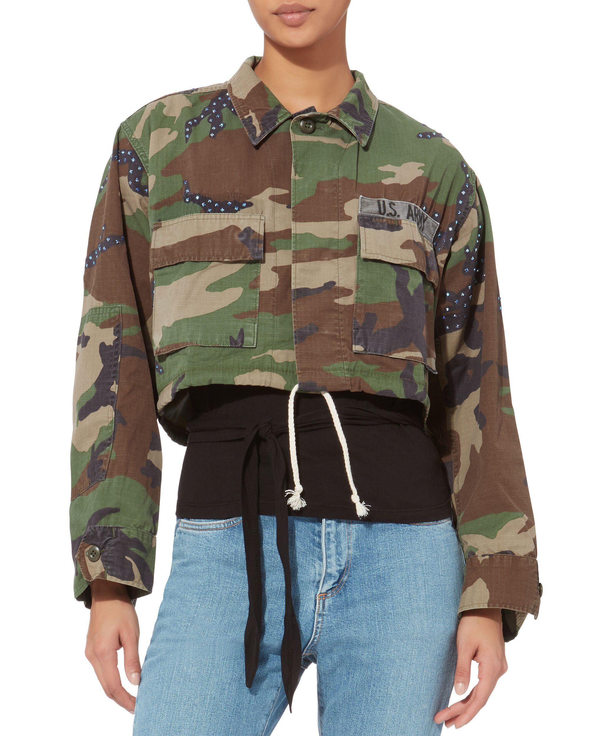 Janet Lapis Cropped Camo Jacket, MULTI, hi-res
