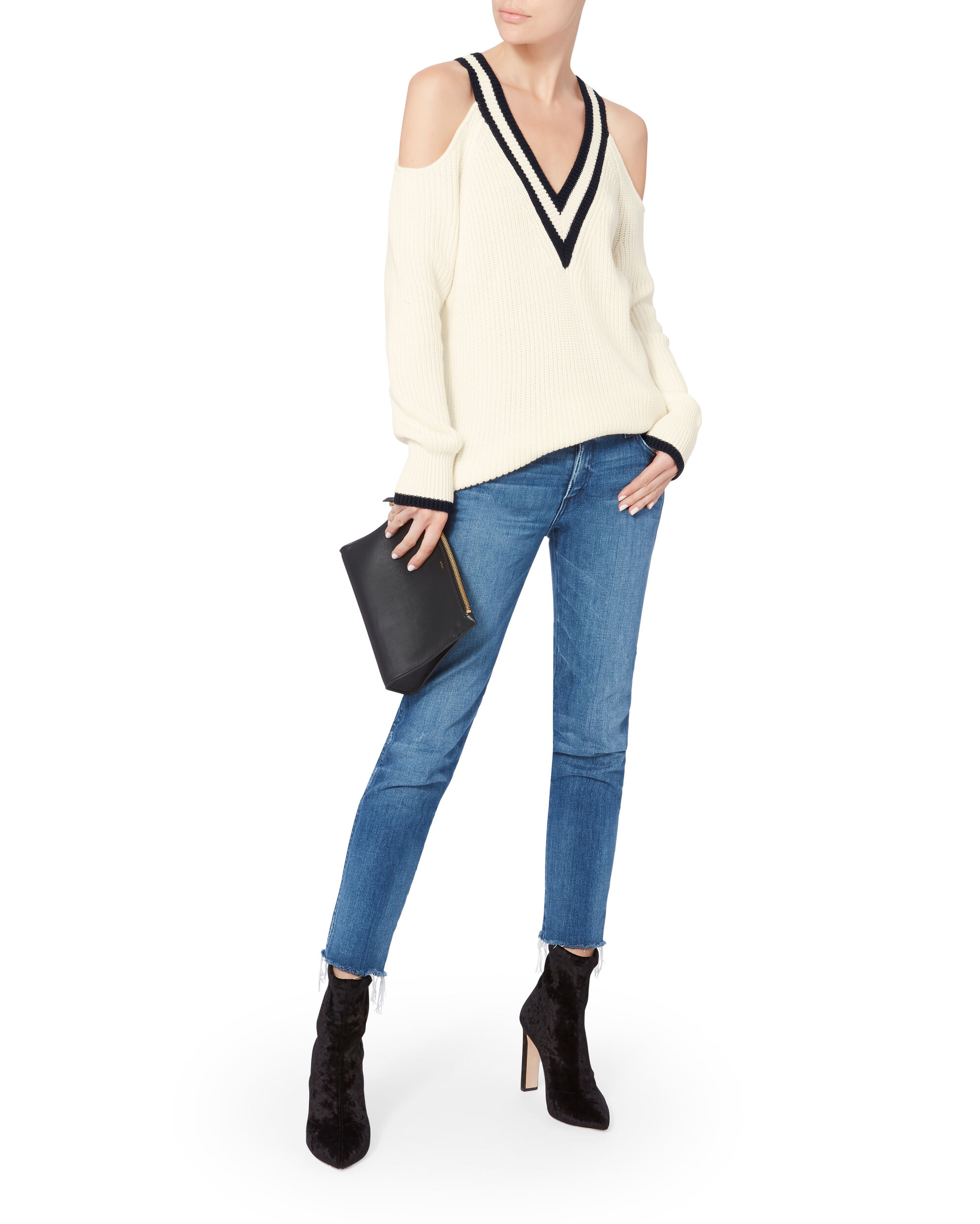 Drea Varsity Cold Shoulder Sweater, , hi-res