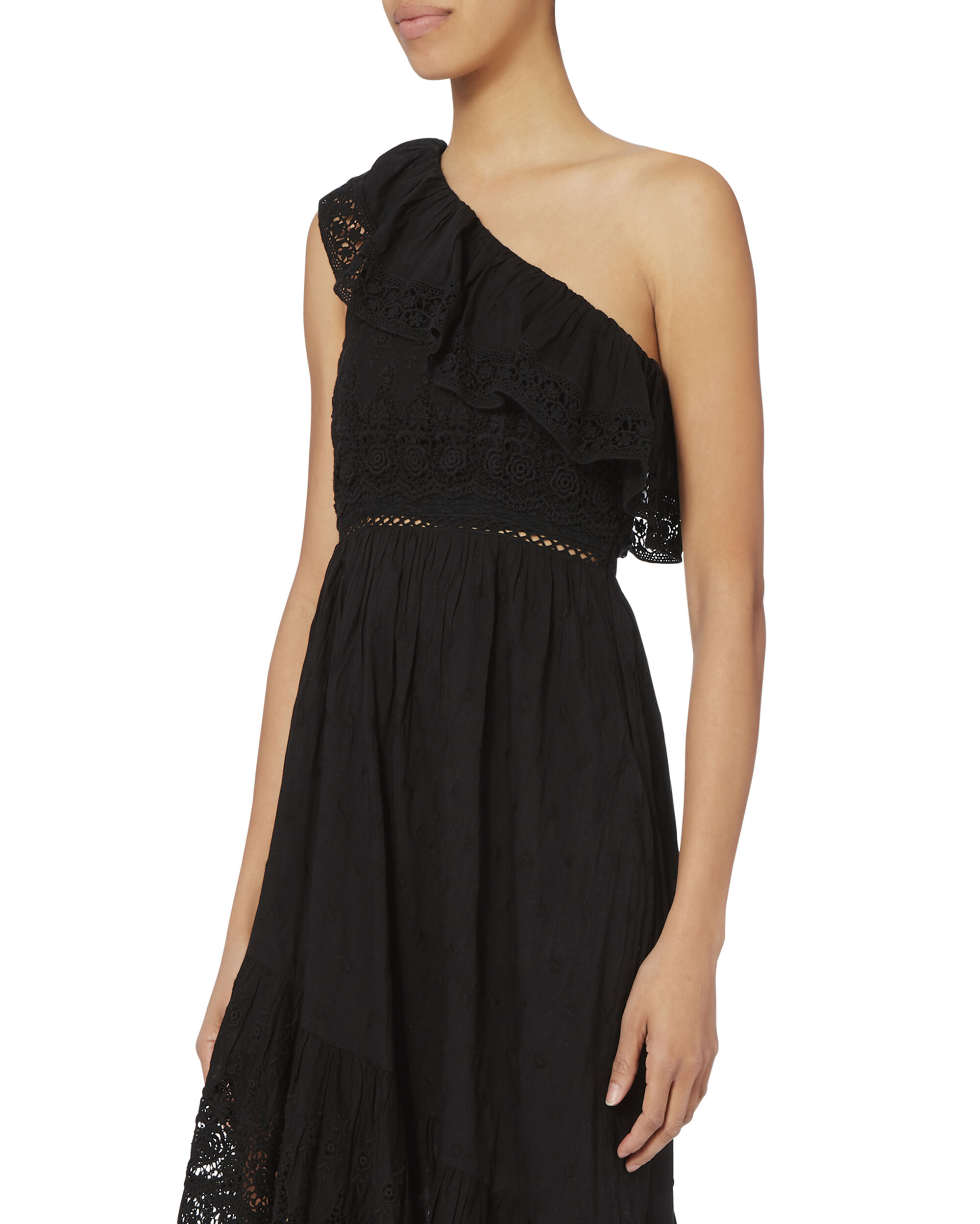 Pamela One Shoulder Ruffle Dress, BLACK, hi-res
