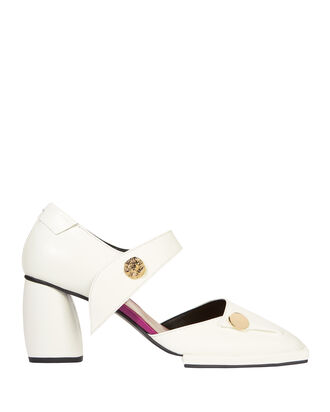 White Leather Pumps, WHITE, hi-res