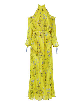 Floral-Printed Cold Shoulder Maxi Dress, YELLOW, hi-res