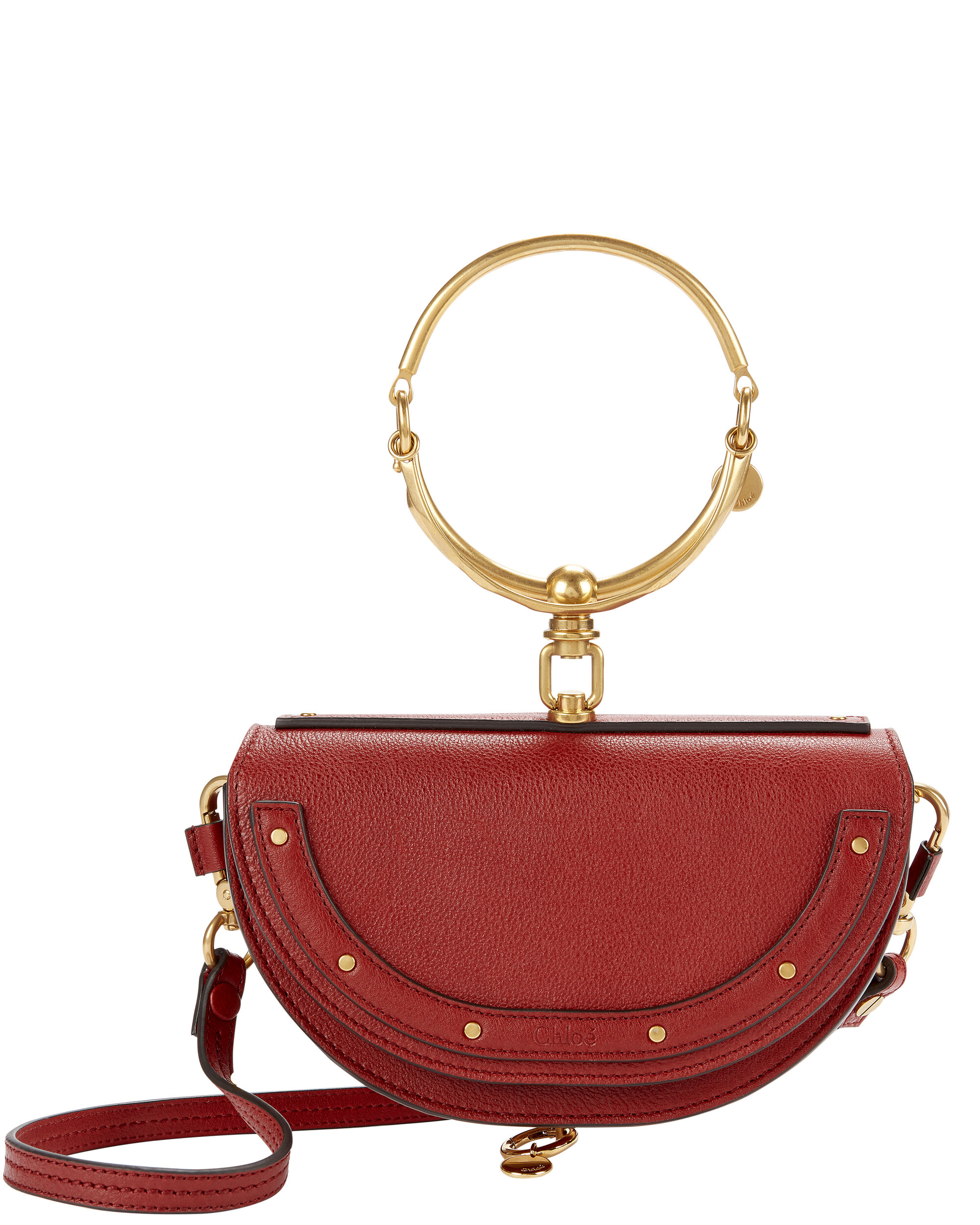 Nile Bracelet Small Leather Clutch, RED, hi-res