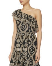 Pamela One Shoulder Eyelet Dress, BLACK, hi-res