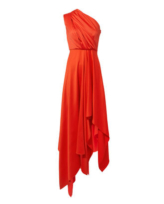 Marine One Shoulder Gown, RED, hi-res