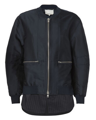 Indigo Shirttail Hem Bomber Jacket, BLUE, hi-res