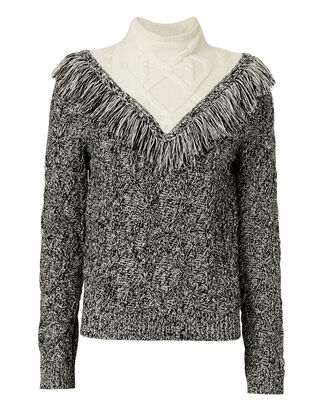 Deja Fringe Cable Knit Sweater, NAVY, hi-res